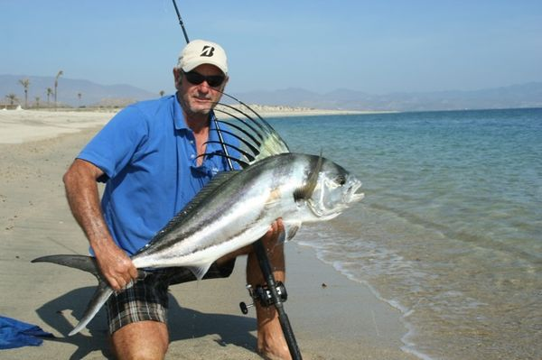 39 ranch 39 hand a master at catching roosterfish from the for Rooster fish cabo
